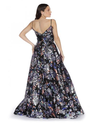 Pierre Cardin Askılı Renkli Payet Abiye Elbise Siyah
